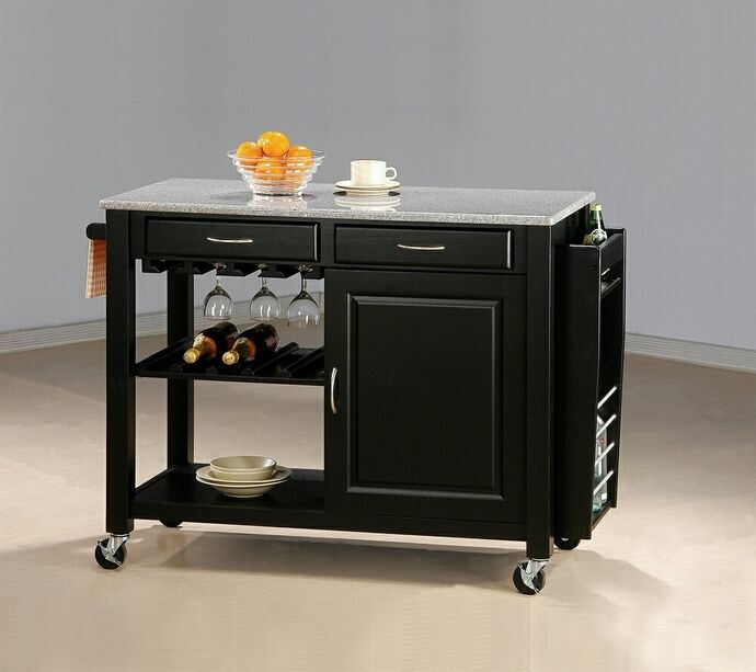 5870 Cottonwood Aldo Chefs Helper Black Finish Wood Kitchen Island Cart With Granite Top And Casters Portable Kitchen Island Black Kitchen Island Wood Kitchen Island