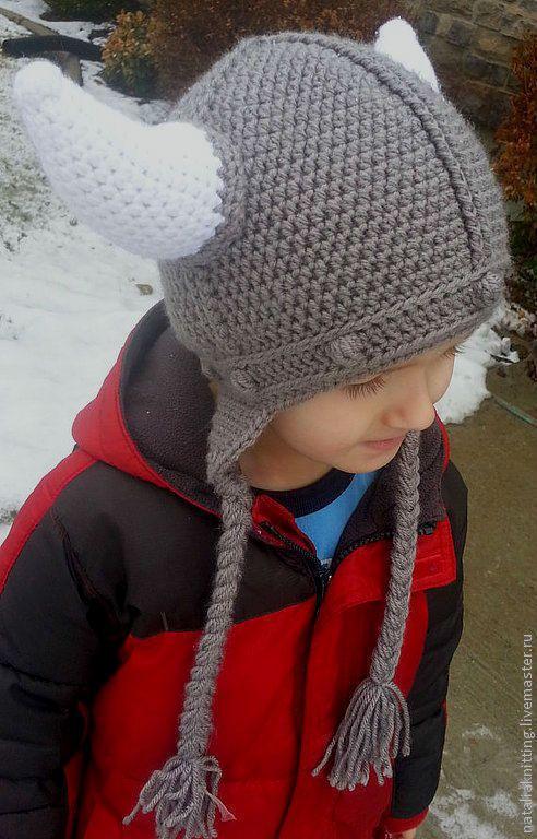 "Купить Шапка ""Викинг"" - серый, викинги, викинг, рыцарь, шлем, шапка крючком, шапка для мальчика"