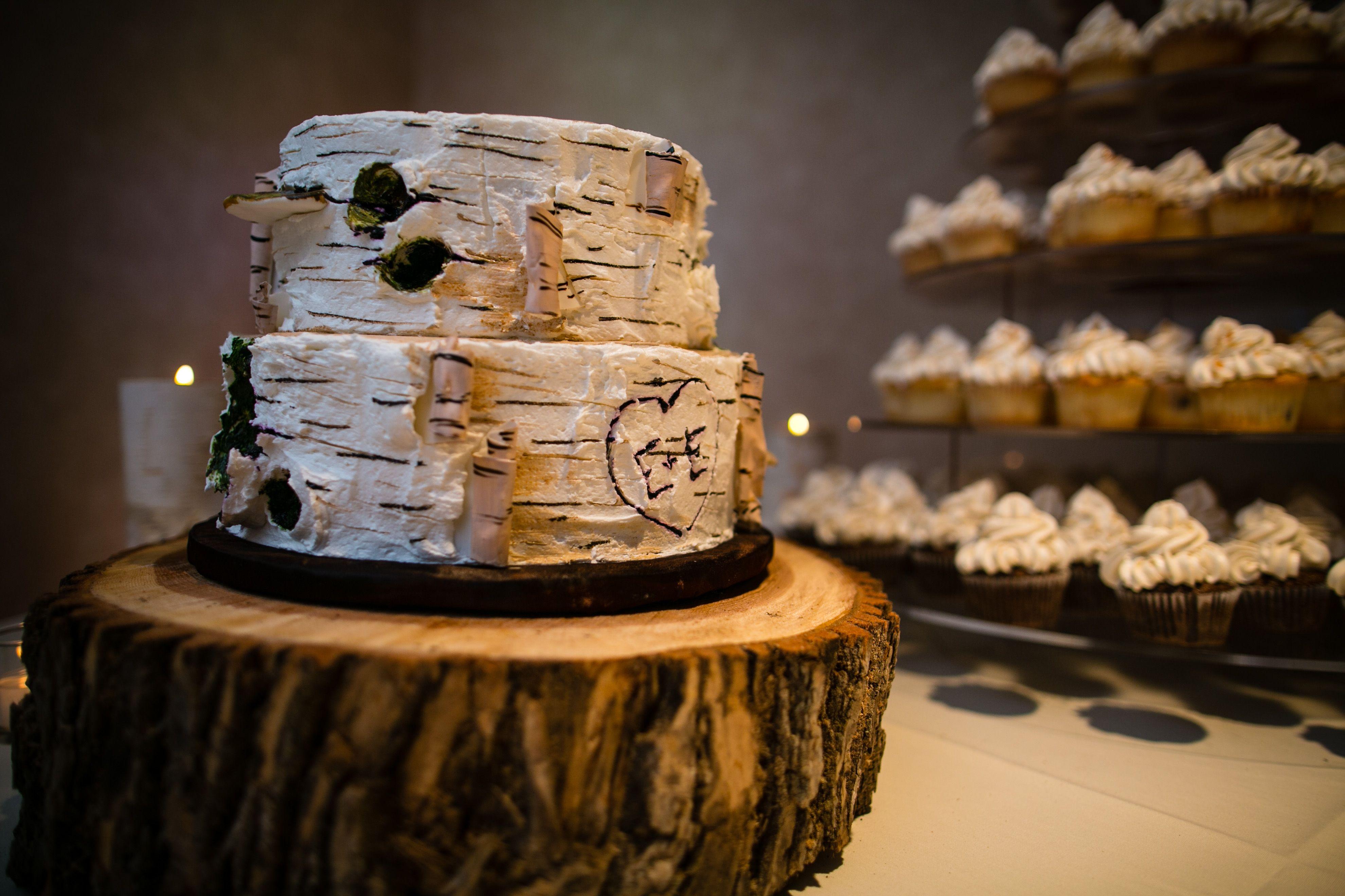 Fall Rustic Wedding Birch Cupcake Tree How Sweet It Is Cakes