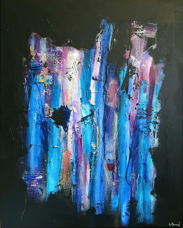 Peinture Moderne Acrylique Et Matière Noir Bleu Turquoise Violet