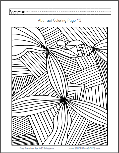 Abstract Coloring Page 3 Free to print (PDF file