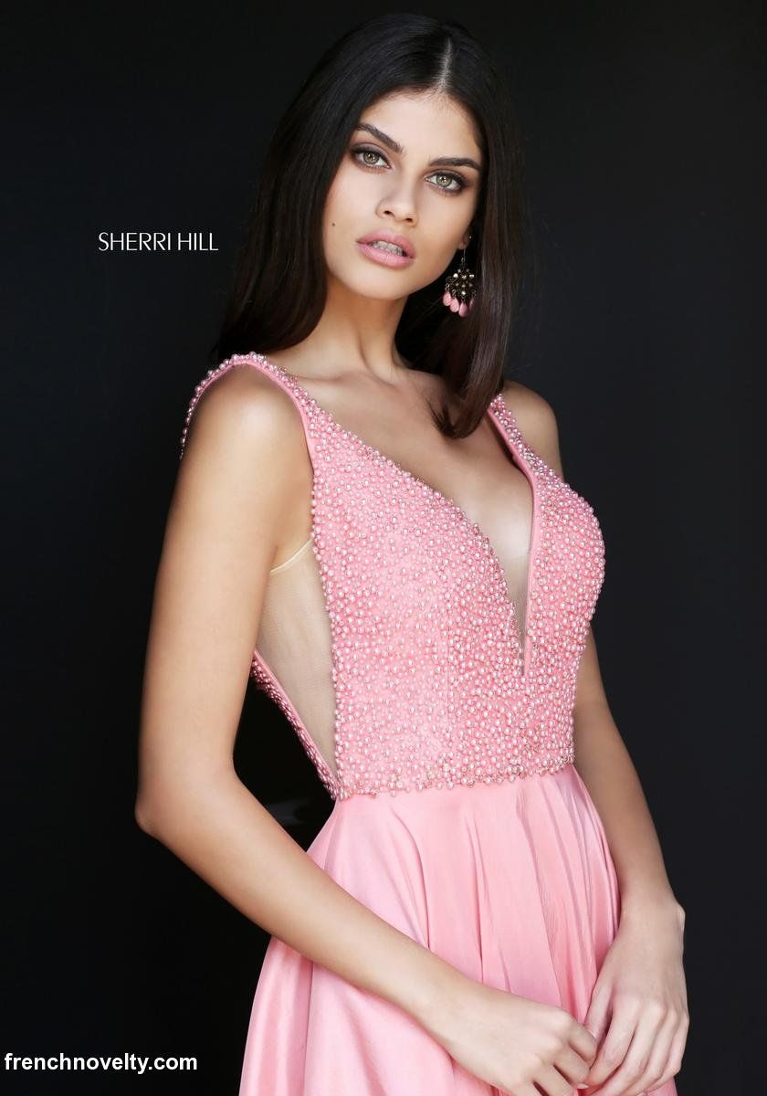 Sherri Hill 51182 is a sleeveless, deep V-neck and back prom dress ...