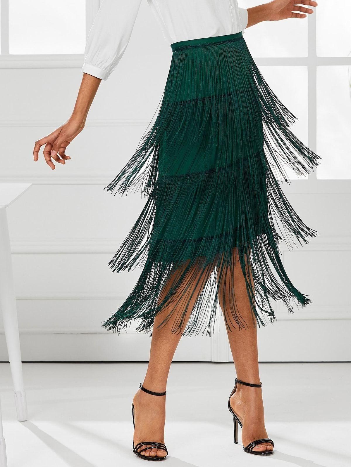 c9b593a2 Skirt Outfit | Bottoms | Green Smarald | Summer Skirts, Tassel Skirt,  Feather Skirt