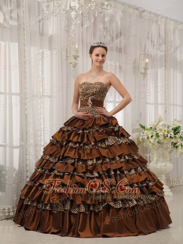 3fcd4f3f18 Buy beautiful leopard print ruffled layers brown quinces dress shop from  beautiful quinceanera dresses collection