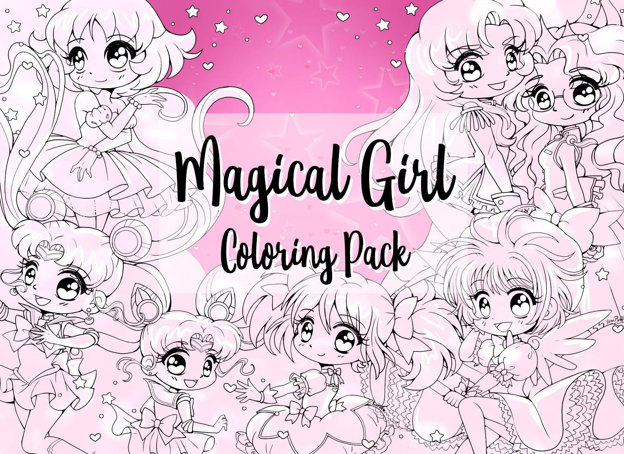 Magical Girl Digital Coloring Pack By Yampuff Sailor Moon Etsy Magical Girl Cardcaptor Sakura Chibi Coloring Pages