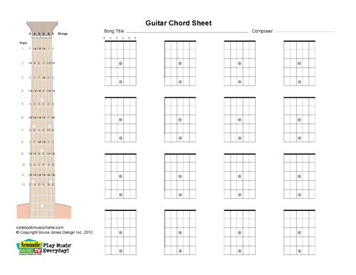 Guitar Blank Printable Chord Boxes Guitar stuff Pinterest - guitar chord chart
