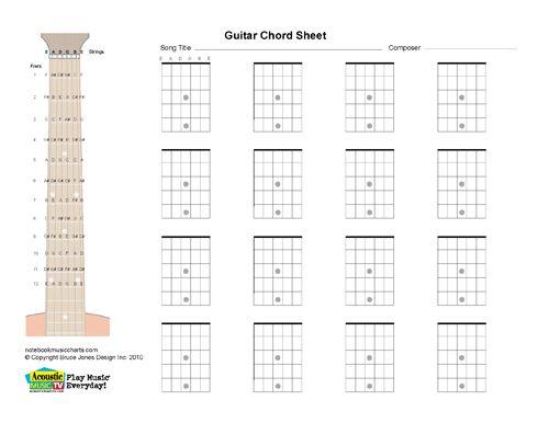Guitar Blank Printable Chord Boxes  Guitar Stuff