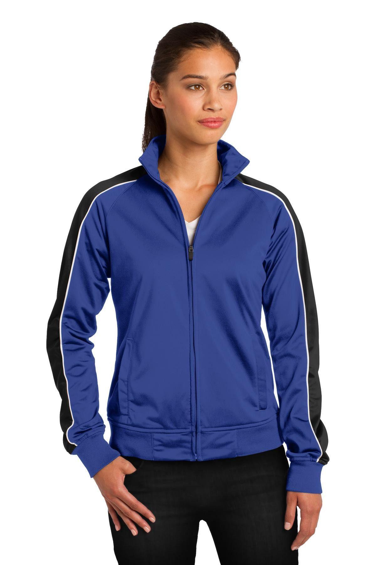 SportTek Ladies Piped Tricot Track Jacket LST92 True