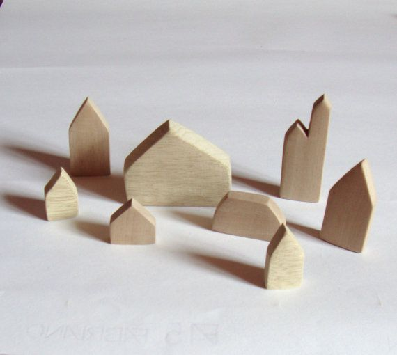 Natural wooden houses di BoisetRois su Etsy