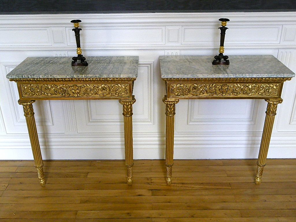 paire de consoles louis xvi bois dor xviiie michel witold gierzod probablement italie du nord. Black Bedroom Furniture Sets. Home Design Ideas