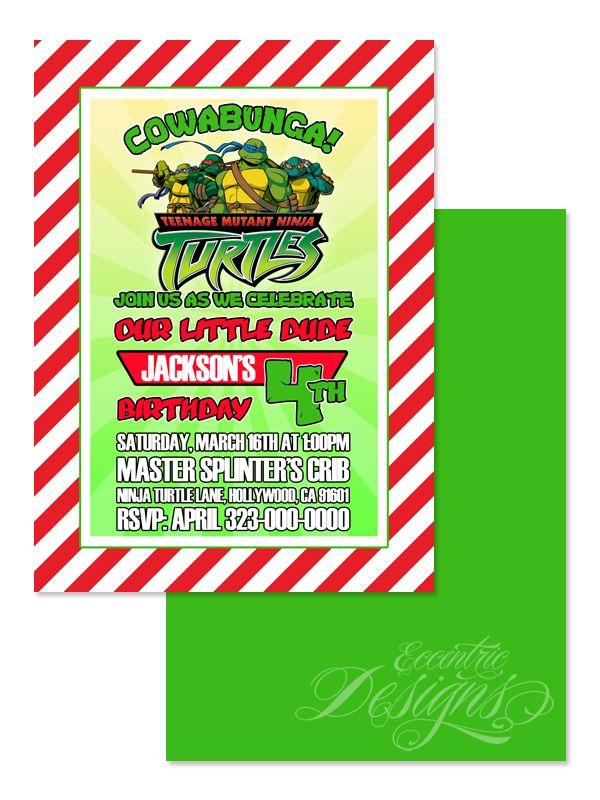 Teenage Mutant Ninja Turtles - Birthday Party Invitation / Child ...