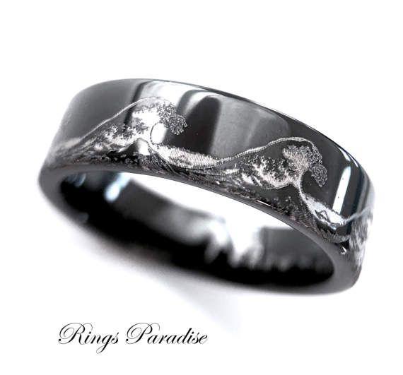 Mens Wedding Bands Ocean Ring Wave Ring Mens Black Tungsten Etsy In 2020 Black Tungsten Wedding Band Mens Wedding Bands Tungsten Black Tungsten Engagement Rings