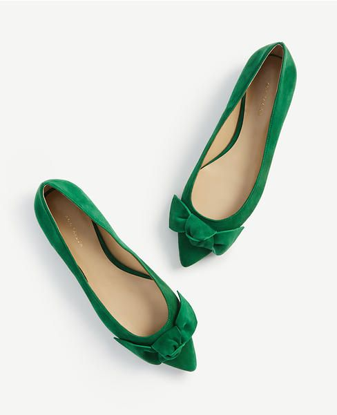 bd4bff260ee1 Gorgeous green suede bow flats with a pointed toe from Ann Taylor - the  perfect flat for any Fall outfit!