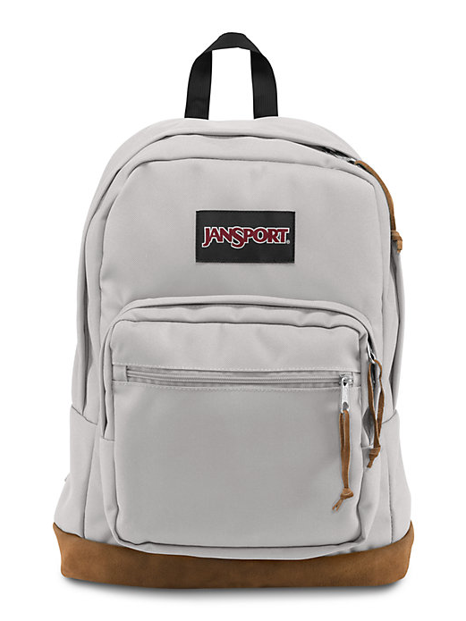 ea82f724b39b The new classic JanSport Grey Rabbit Right Pack backpack from the features  a laptop sleeve and the signature suede leather bottom.