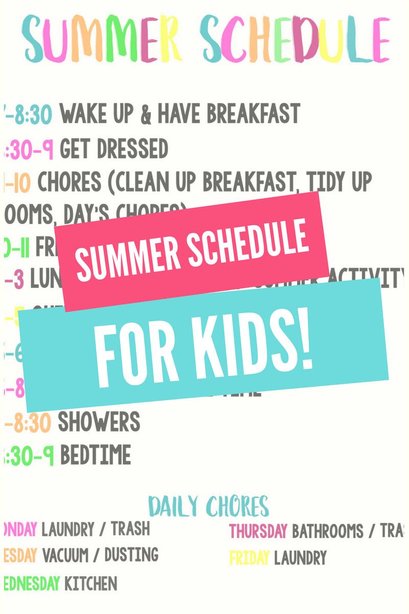 Summer Schedule for Kids | Seasonal Fun: Summer | Pinterest | Summer ...