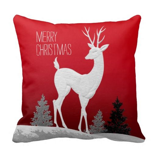 Merry Christmas Reindeer vintage | red Pillow #zazzle #pillows