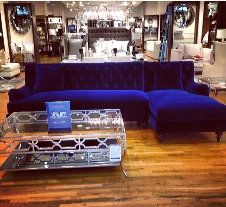 This Is The Color So Vibrant Blue Suede Couch Couches Living