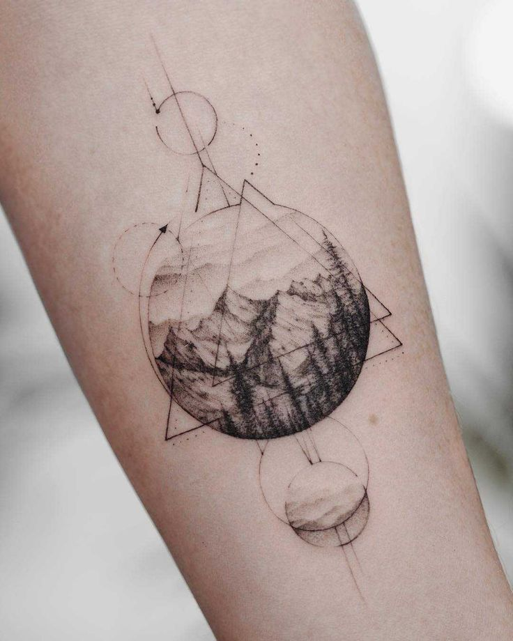 Mountainous #landscape #and #geometry #tattoo #on #the #forearm ,  #Forearm #geometrictattoo …