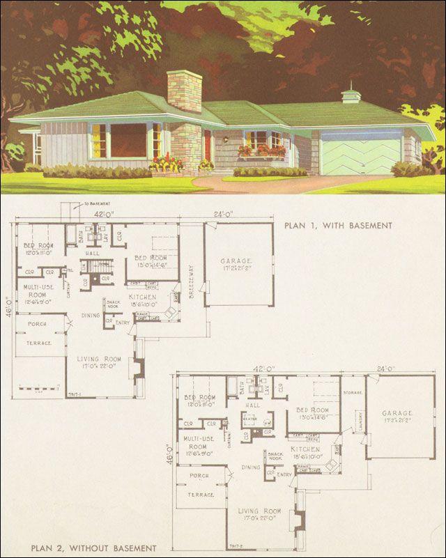 Mid century rambler floor plans for Century homes floor plans