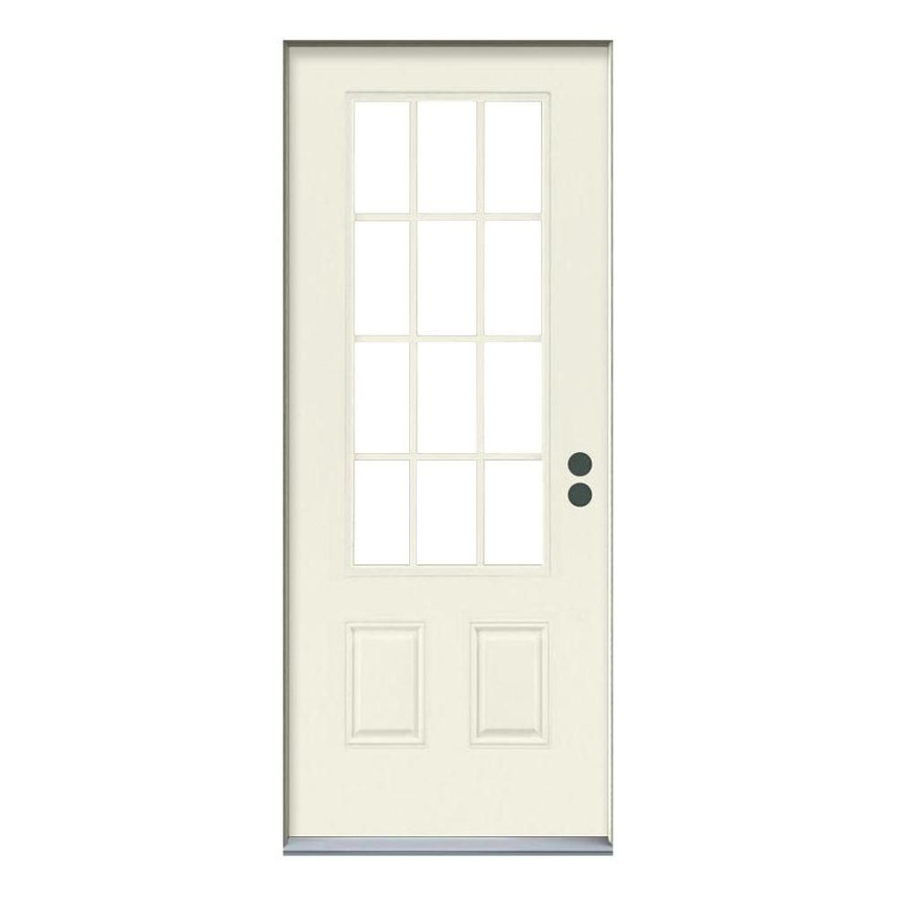 Jeld Wen 36 In X 80 In 12 Lite Primed Steel Prehung Left Hand Inswing Back Door Thdjw190900027 The Home Depot Front Door Doors Home