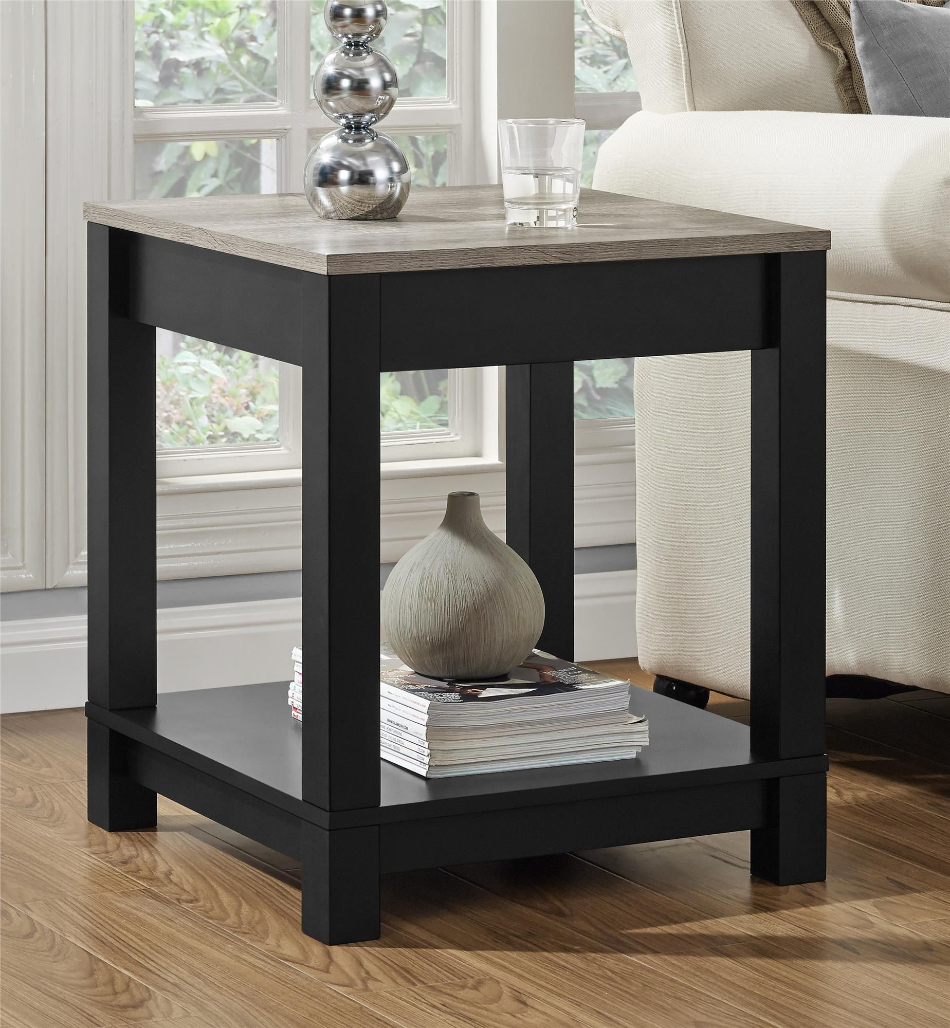 Add Extra Style To Your Living Room With The Ameriwood Home Carver End Table This Item Is Beautiful And Functional The T Sofa End Tables End Tables Furniture