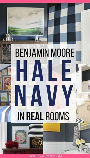 Benjamin Moore Hale Navy: The Classic Navy Paint Color. See BM Hale Navy in actual rooms! If you love blue and white rooms, and want to paint your bedroom or dining room a navy blue paint color, see what it looks like for real! Plus, see designers' best tips for selecting the right paint color! #blue #navy #blueandwhite #paintcolors #paint #howtopaint #painting #benjaminmoore #halenavybenjaminmoore
