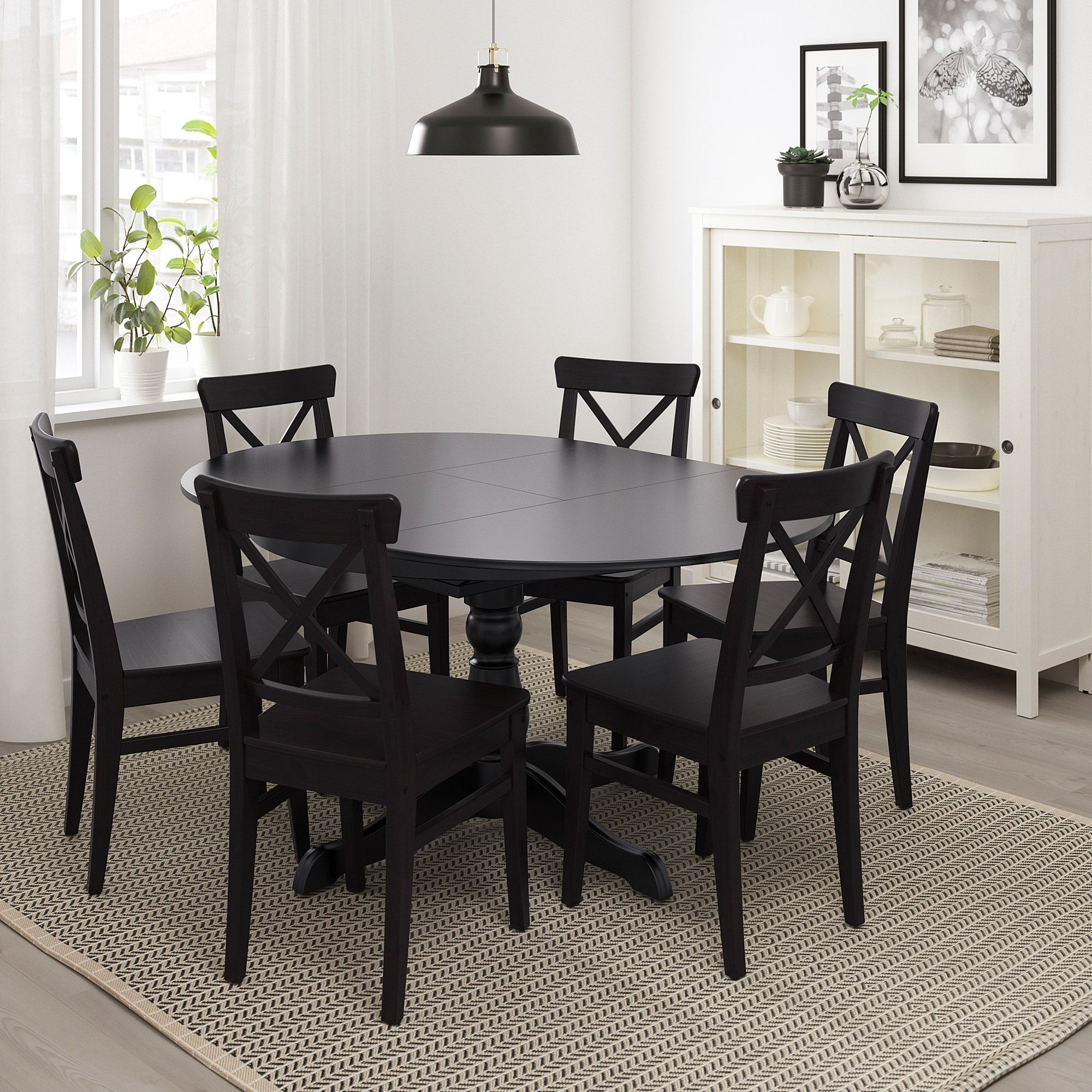 INGATORP Extendable table, black, Max. length 9