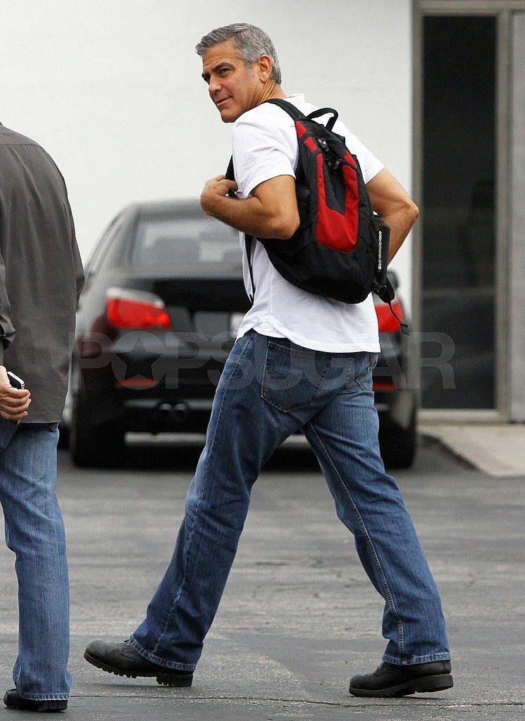 Clooney white tshirt in la pictures popsugar