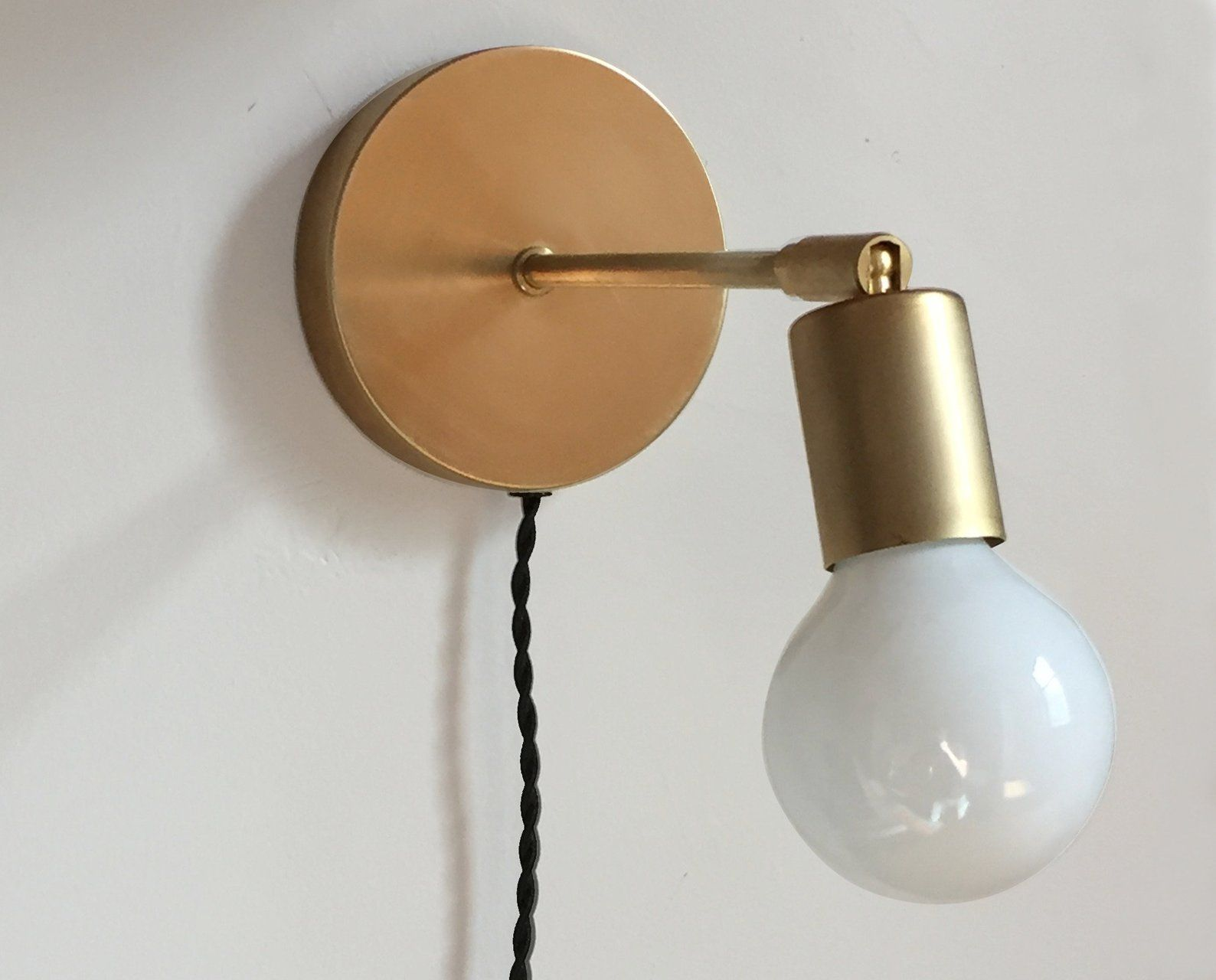 Plug In Wall Sconce Alice Modern Adjustable Minimalist Etsy Plug In Wall Sconce Wall Lights Modern Brass Lighting