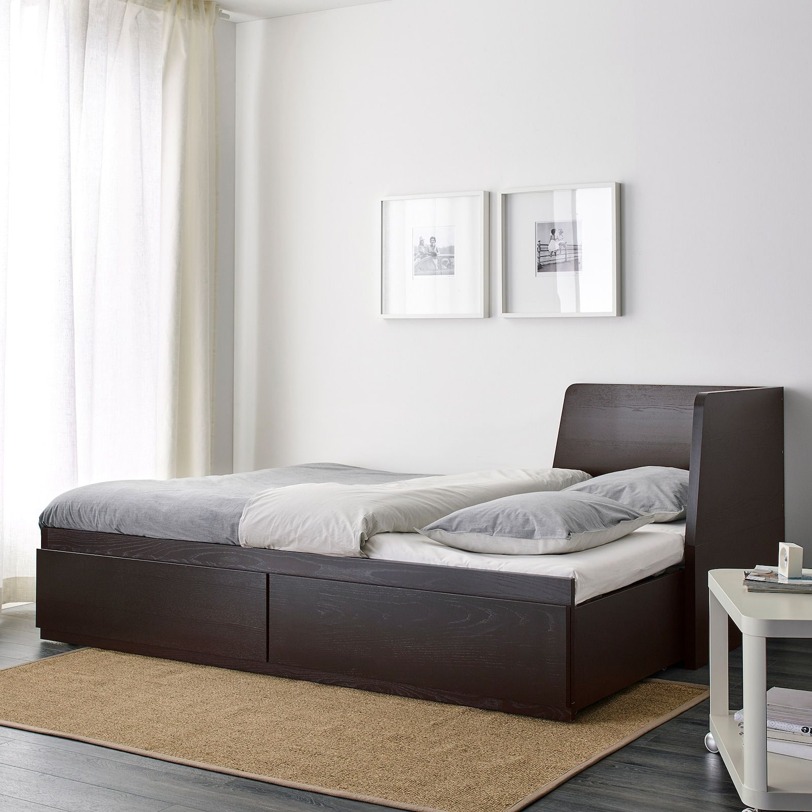 FLEKKE Daybed frame with 2 drawers, blackbrown, Twin
