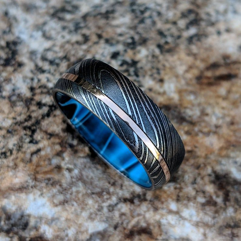 Damascus steel ring 14k rose gold wedding band with inside