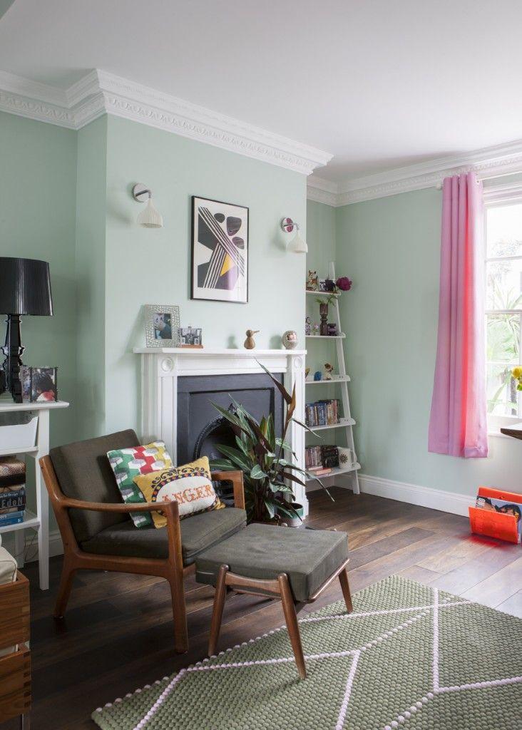 Designer Homes For The Love Of Kitsch Green Walls Living Room Living Room Green Mint Living Rooms