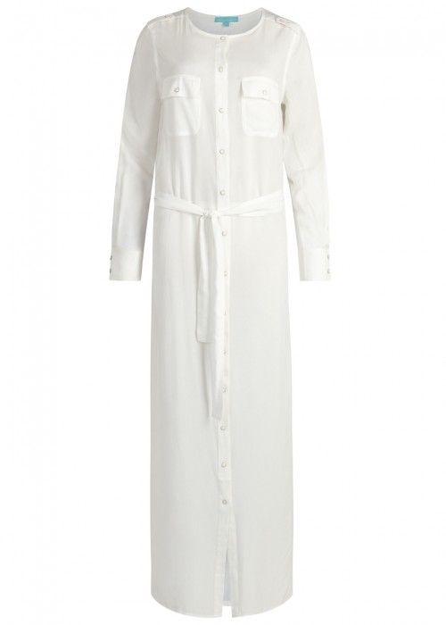 3008692ae0 MELISSA ODABASH YASMIN OFF WHITE MAXI SHIRT DRESS. #melissaodabash #cloth #