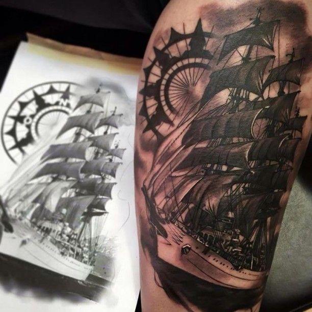 tattoo segelschiff und kompass fav tattoos by jean pinterest tattoo tatoos and tatoo. Black Bedroom Furniture Sets. Home Design Ideas
