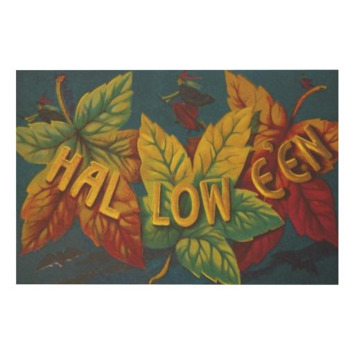 Witch Autumn Fall Leaves Changing Colors Bat Wood Prints