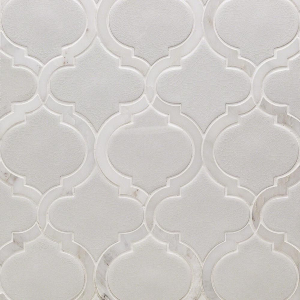 Splashback Tile Oracle Arabesque Glacier White 9 7 8 In X 11 3 4 In X 10mm Glazed Ceramic Mosaic Tile Ext3rd100330 Arabesque Tile Ceramic Mosaic Tile Splashback