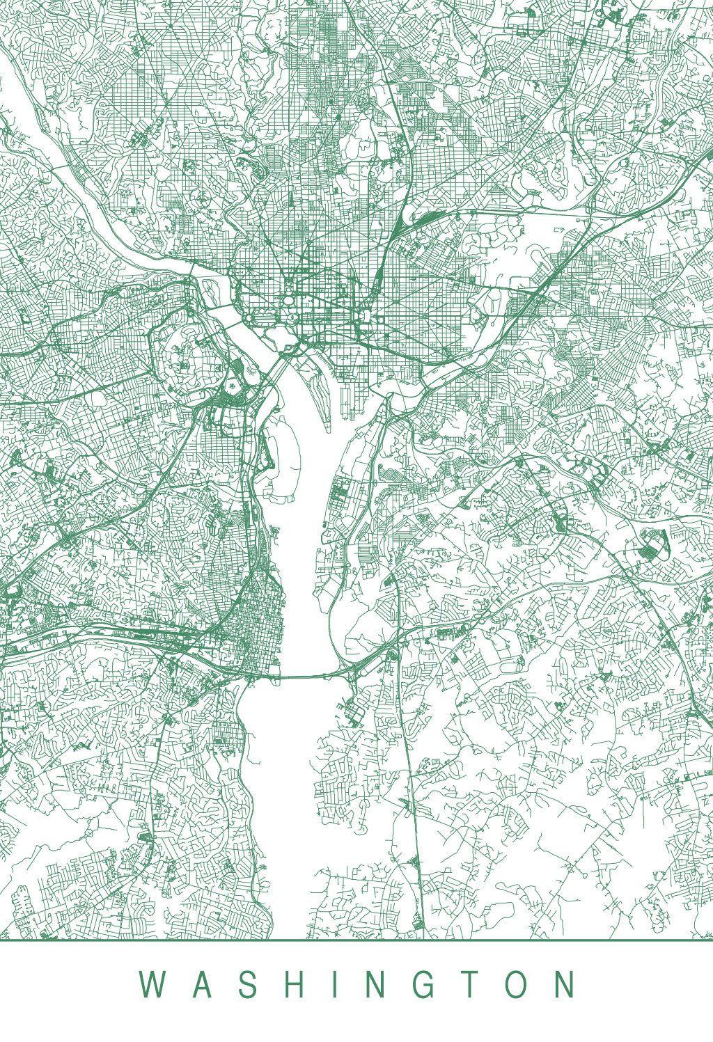 Karte Map Washington D C Vereinigte Staaten Von Amerika