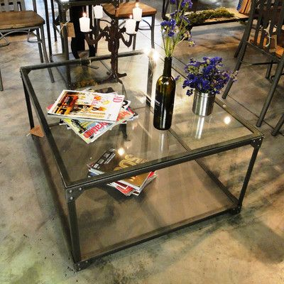 REZFurniture Industrial Square Center Coffee Table