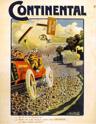 """An original """"Continental Tire"""" advertising poster by Ernest Montaut, circa 1905, US$ 2,500 - 3,500 CA$ 2,700 - 3,800"""