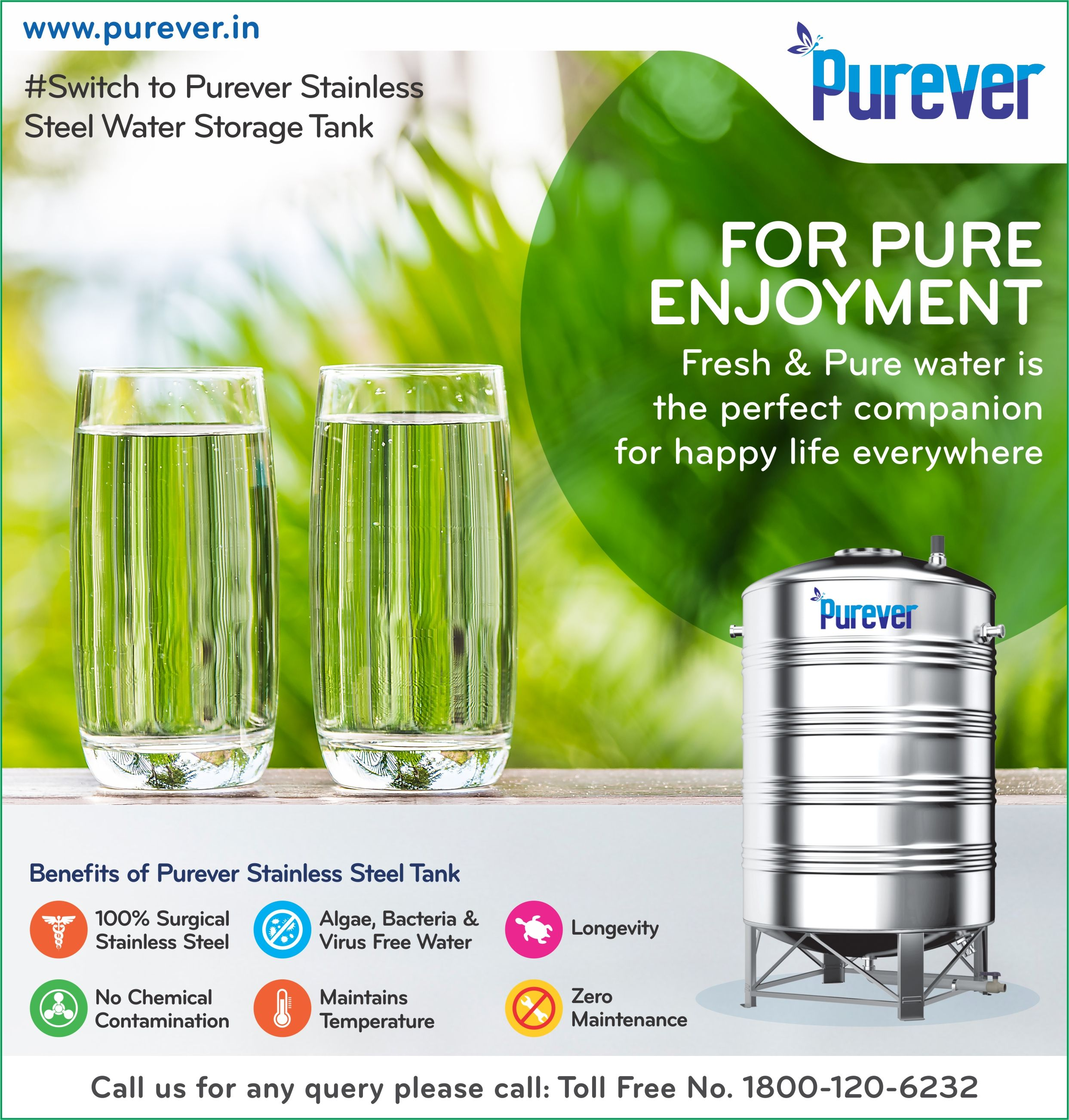 Pure Enjoyment Fresh And Pure Water Is The Perfect Companion For Happy Life Everywhere Switch To Purever St Steel Water Tanks Water Storage Tanks Pure Water