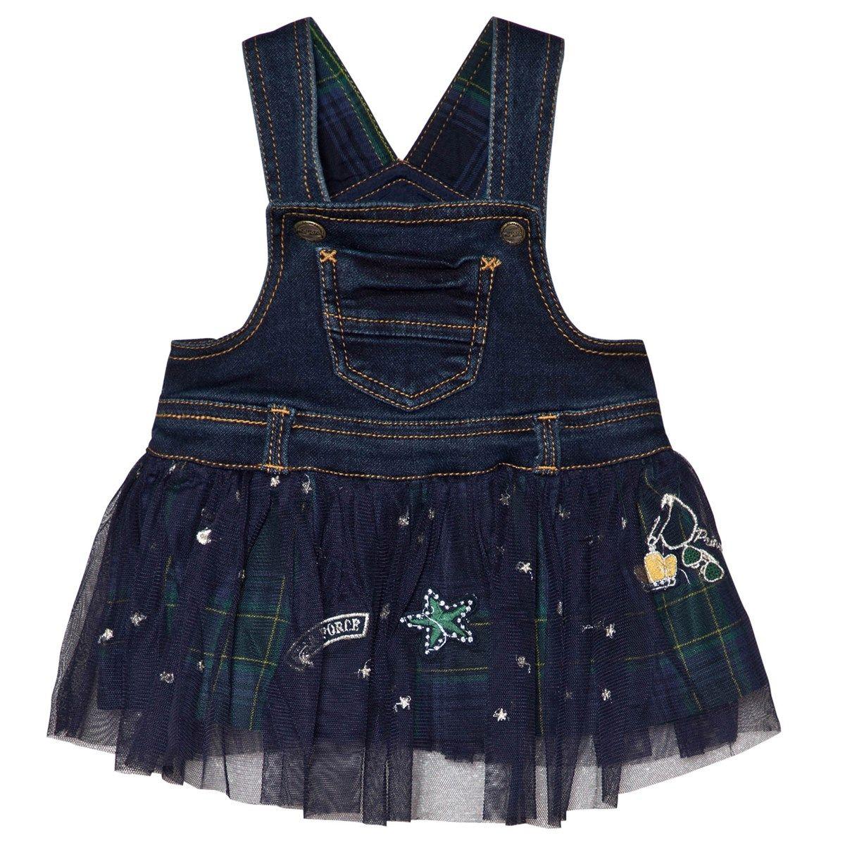 Navy denim u check tulle dungaree dress mia pinterest