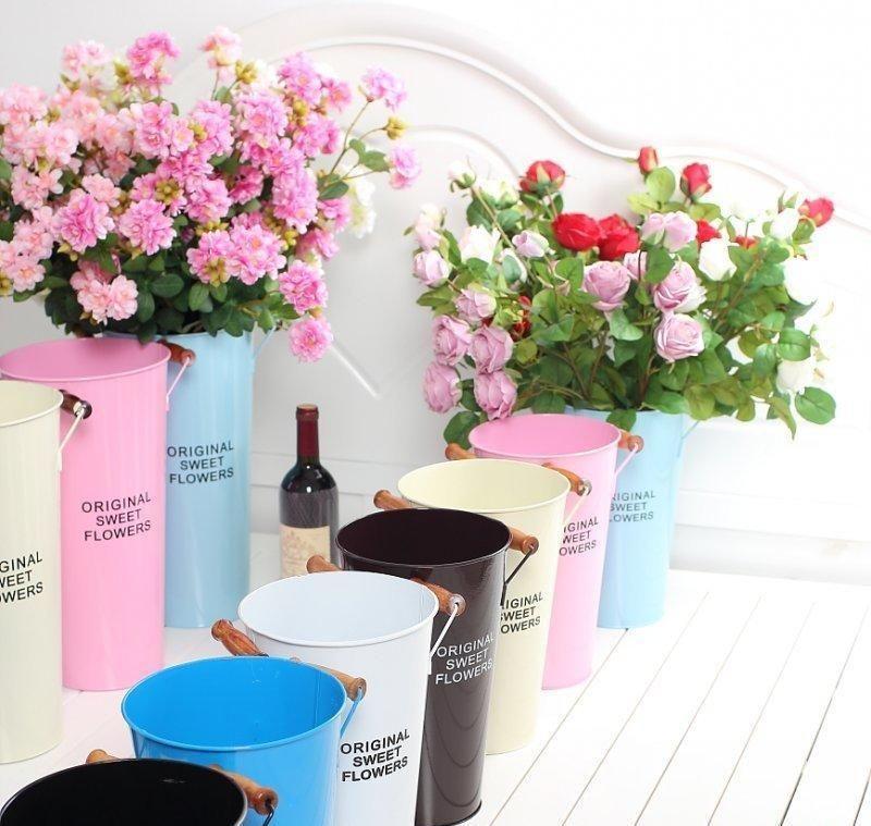 Beautiful Painted Metal Flower Bucket   Flower bucket ...