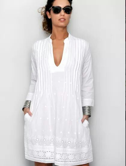 Vestido playero mujer blanco