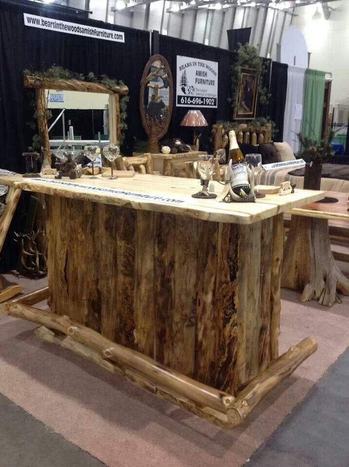 Rustic Hickory Log Bar At Bears In The Woods Amish Furniture Cedar Springs Michigan Amish