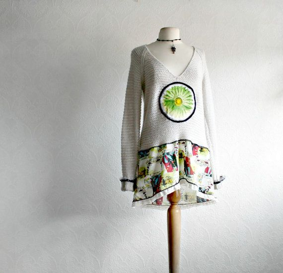Long Sleeve Off White Sweater Bohemian Top V-Neckline Lime Green Flower Upcycled Clothing Women's Clothes Eco Fashion Large 'BLAIRE'