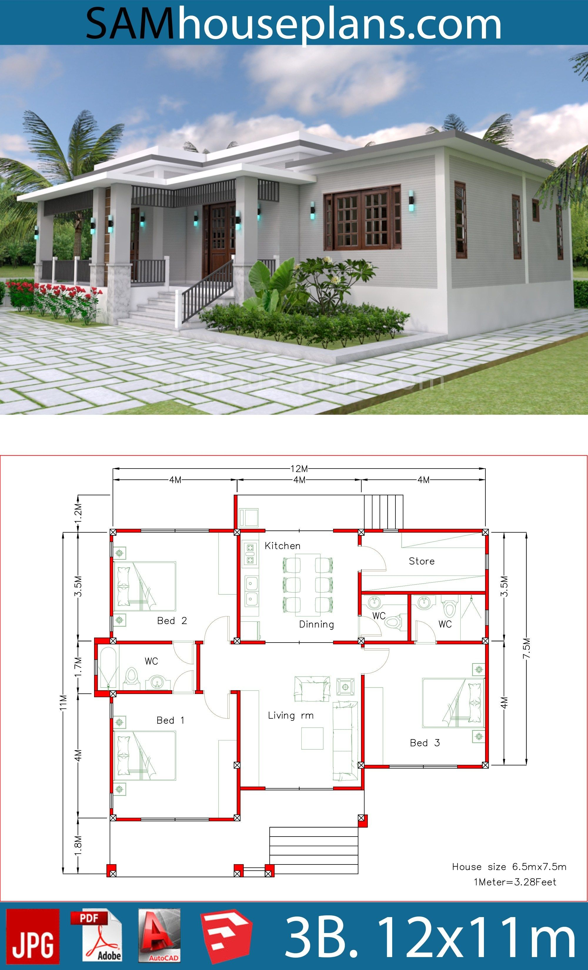 House Plans 12x11m With 3 Bedrooms Sam House Plans House Plan Gallery Small House Design Plans Affordable House Plans
