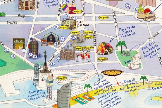 barcelona map tourist attractions barcelona spain tourist map