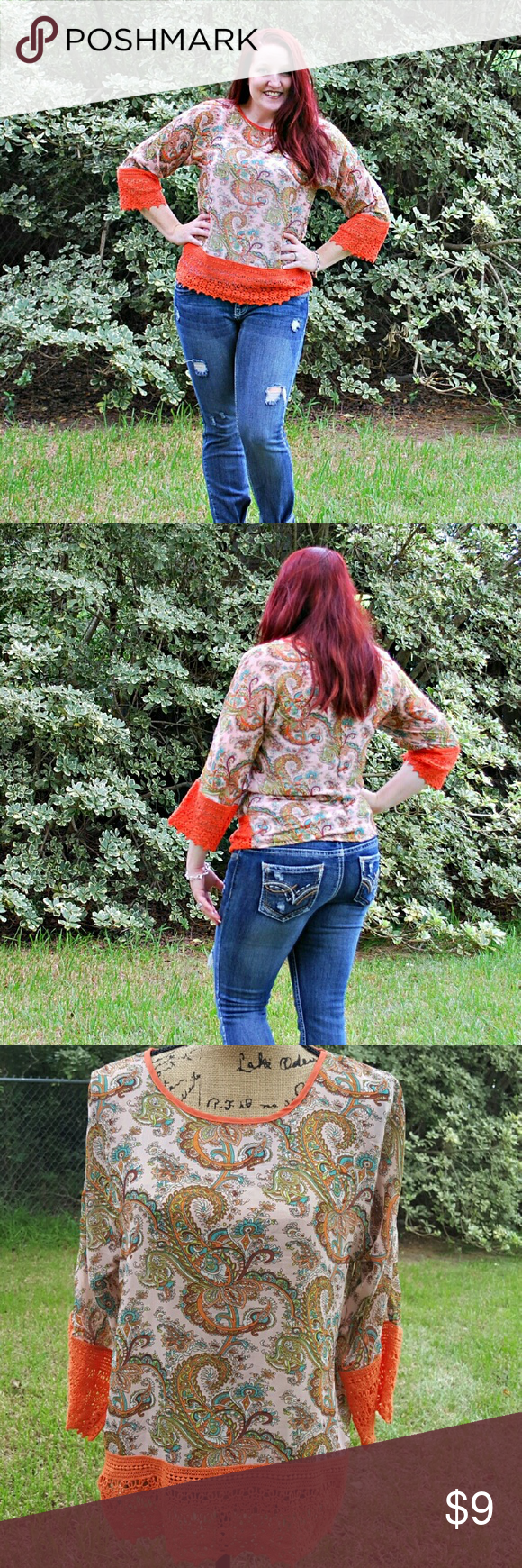 "Umgee Orange Paisley Semi Sheer Boho Blouse S Umgee brand orange paisley sheer blouse. Crochet lace edges at hemline and sleeves. Beautiful blouse. Excellent condition. Tagged size small. Fits oversized.  Measurements : Length 25"" 19"" across front laying flat  #ravenkittystyle #umgee #orange #paisley #fall #fallfashion #sheer #layer #crochet #crochethem #crochetsleeves #small umgee Tops Blouses"