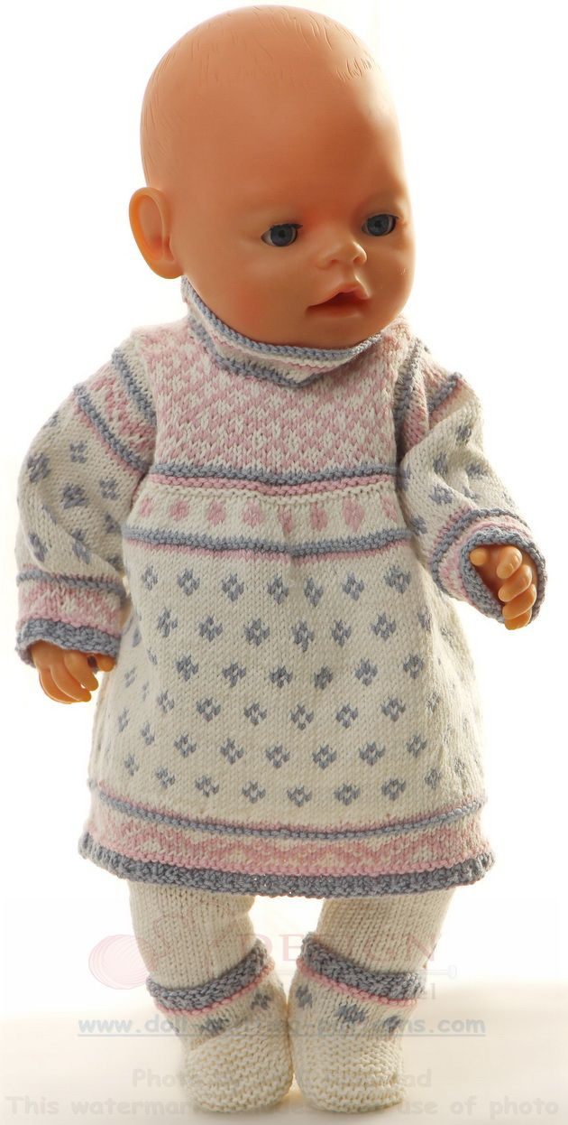 Knitted Doll Clothes Pattern A Light Summer Dress In White Blue