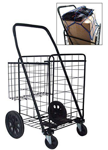 Premium Heavy Duty Metal Swivel Wheels Jumbo Folding Shopping
